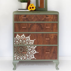 vintage chest of drawers painted in fusion mineral paint Bayberry with mandala pattern by Caramel Treasures near Leeds West Yorkshire