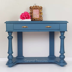 Hallway table painted in fusion mineral paint Seaside by Caramel Treasures near Leeds West Yorkshire