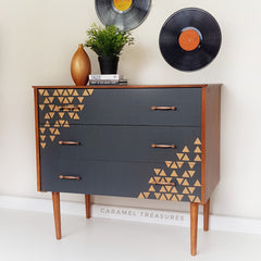 retro teak chest of drawers painted in fusion mineral paint Ash and stencilled with triangles with metallic Cooper by Caramel Treasures near Leeds West Yorkshire