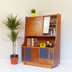 Retro mid century teak wall unit with bureau and display cabinet painted by Caramel Treasures near Leeds West Yorkshire