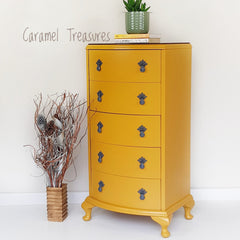 vintage small chest of drawers painted in fusion mineral paint Mustard by Caramel Treasures near Leeds West Yorkshire