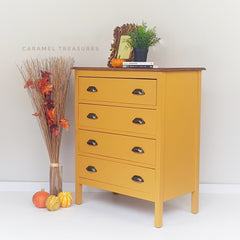 vintage chest of drawers painted in fusion mineral paint Mustard by Caramel Treasures Leeds West Yorkshire