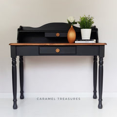 solid pine dressing table painted in fusion mineral paint Coal Black by Caramel Treasures near Leeds West Yorkshire