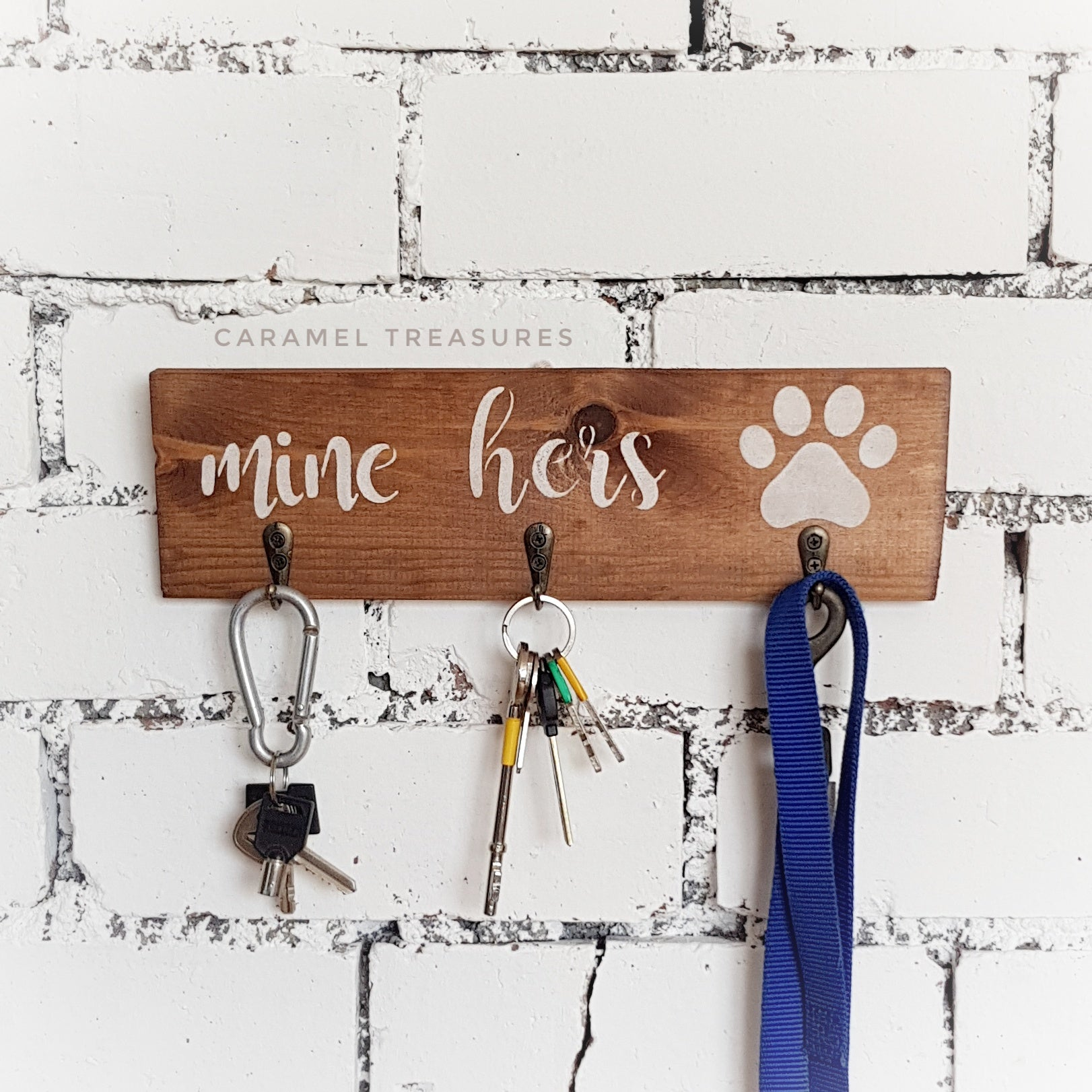 Rustic walk key and lead holder saying mine his or mine hers - Caramel Treasures