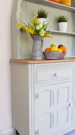 Vintage farmhouse welsh dresser painted in Period Sage - Caramel Treasures