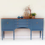 Vintage regency sideboard in blue - Caramel Treasures