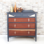 Vintage Up-cycled Chest of Drawers in Grey and Copper