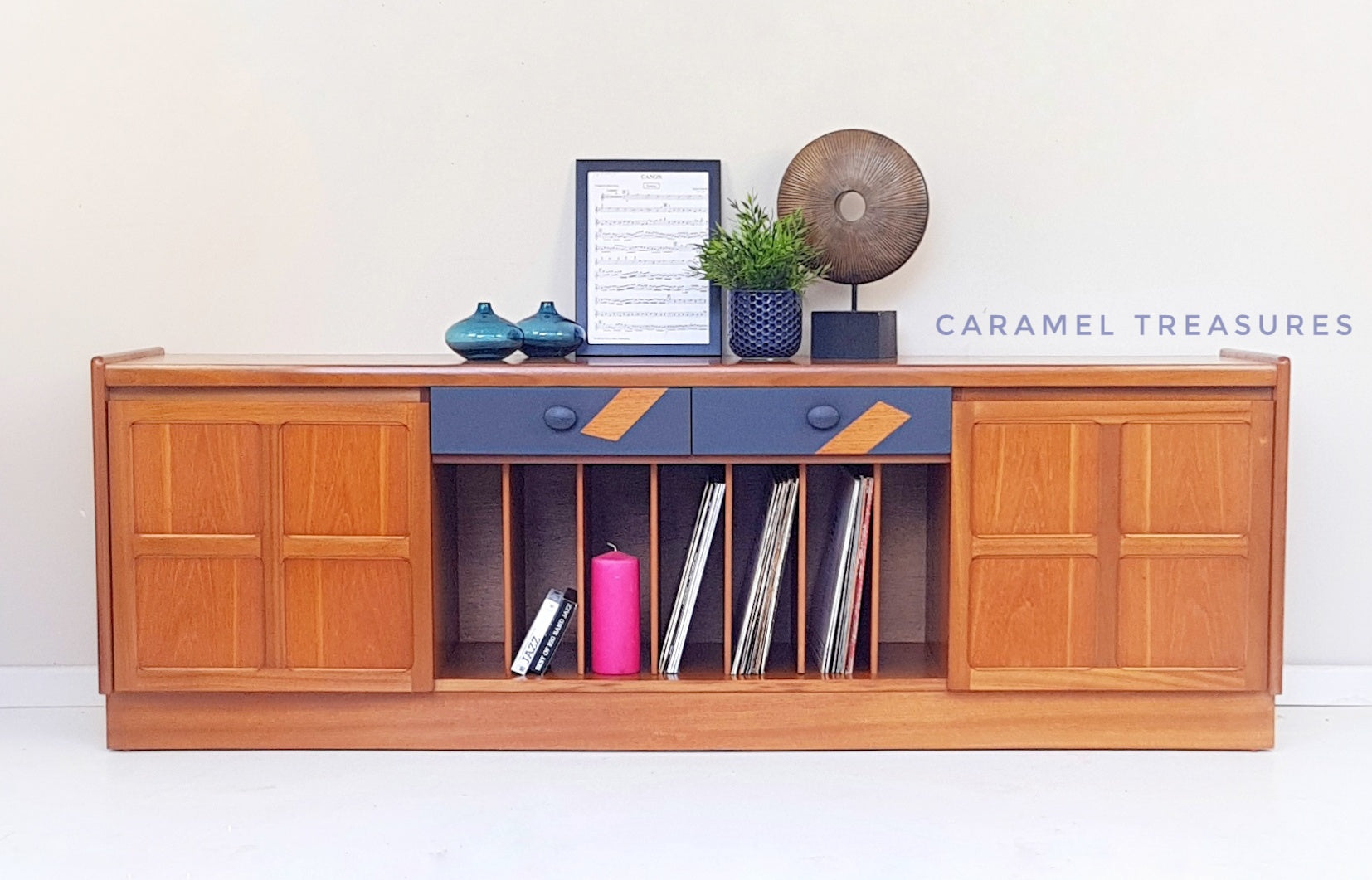 Retro solid wood teak Nathan sideboard, vintage retro media unit - Caramel Treasures