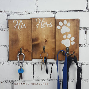 rustic solid wood his hers lead and key holder with paw prints - Caramel Treasures