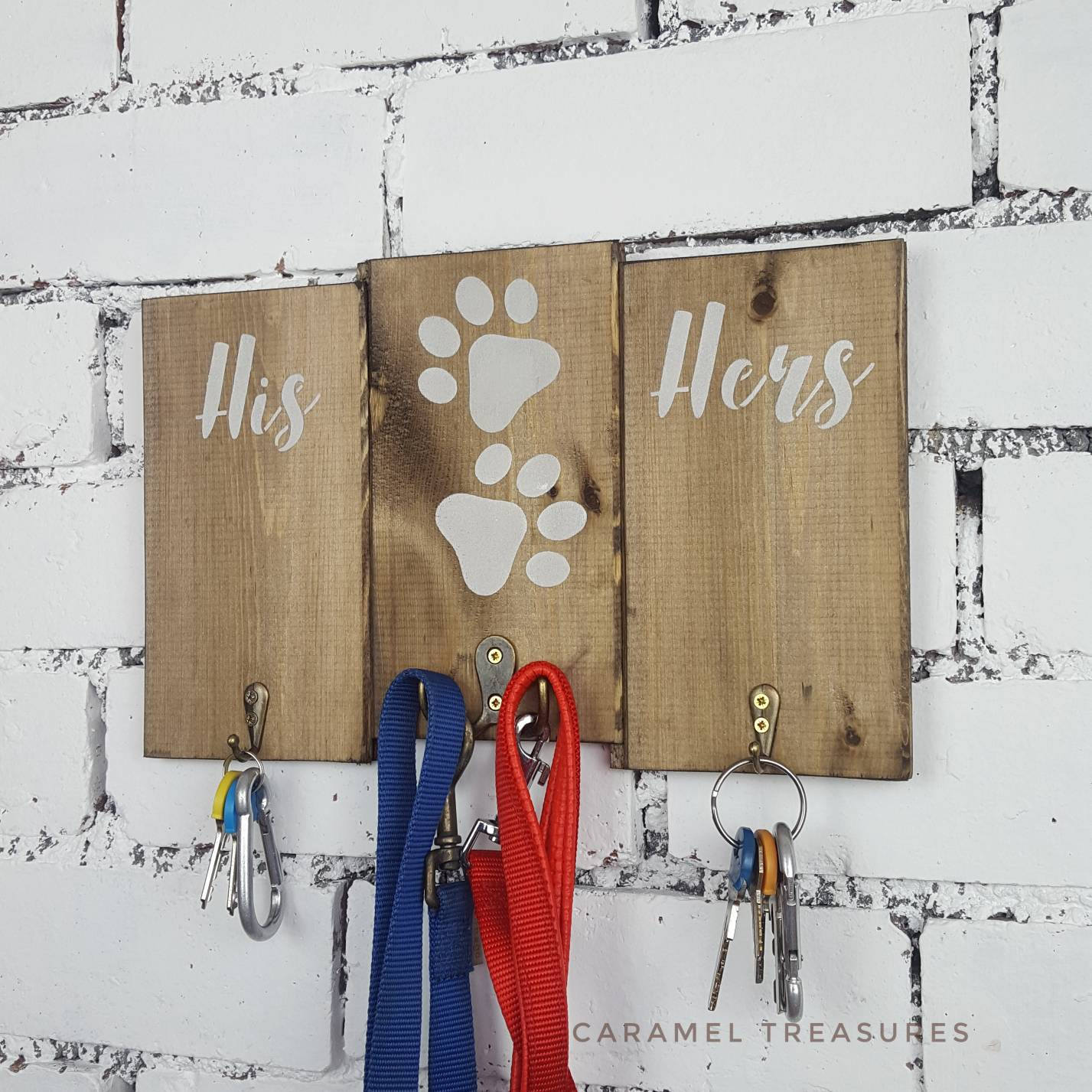 Rustic key and lead wall holder - Caramel Treasures