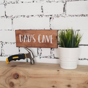 Rustic Dad's Cave sign - Caramel Treasures