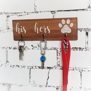 Key and lead holder for wall with His, Hers & Dog Paw - Caramel Treasures