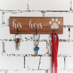 His Hers and dog Paw Wall Key Hook