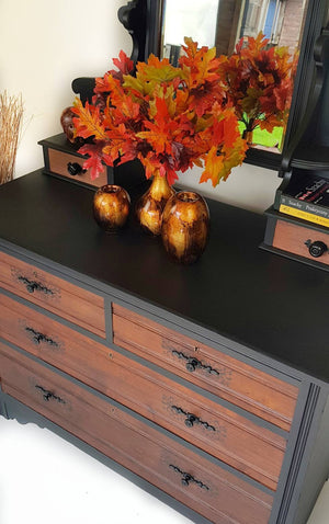 Rustic vintage solid wood chest of drawers with mirror section - Caramel Treasures