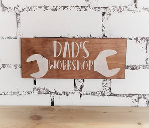 Wooden Dad's workshop sign - Caramel Treasures