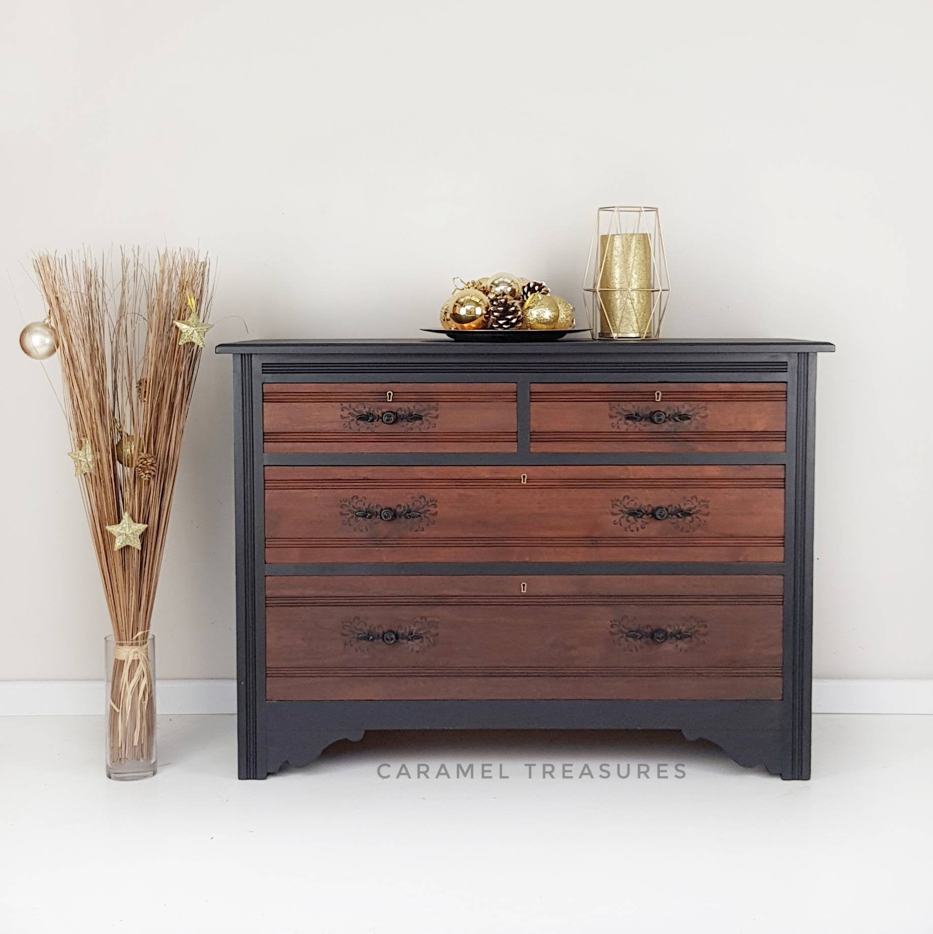 Rustic vintage chest of drawers hand painted in black - Caramel Treasures