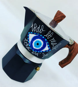 Evil Eye Hand Painted Cafetera - Medium