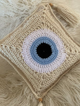 EVIL EYE CROCHET THROW PILLOW 12""