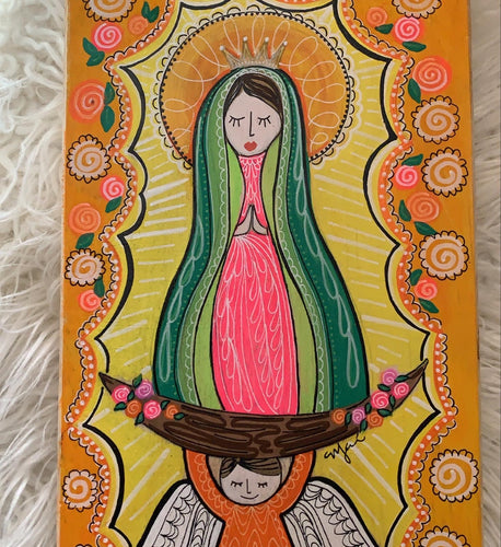 La Virgen de Guadalupe on Wood