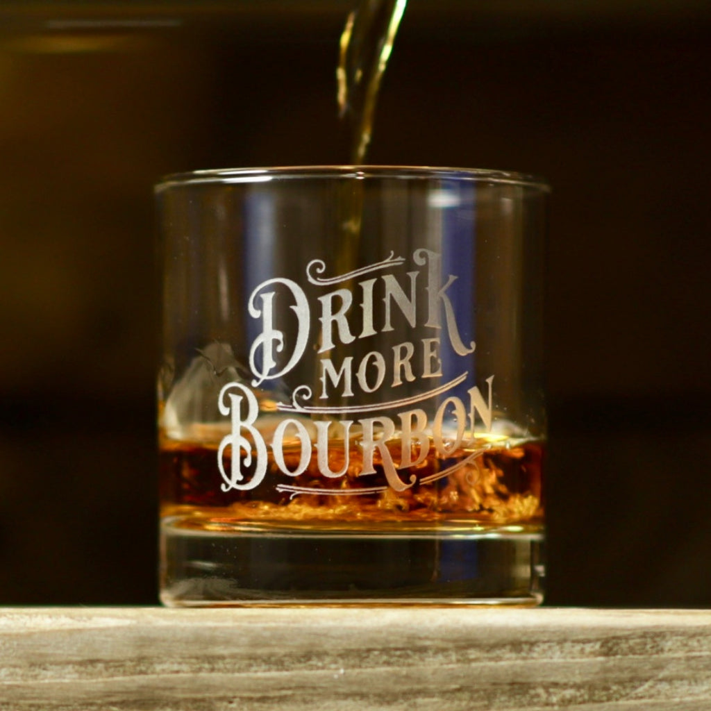 Drink More Bourbon Rocks Glasses - Set of 2