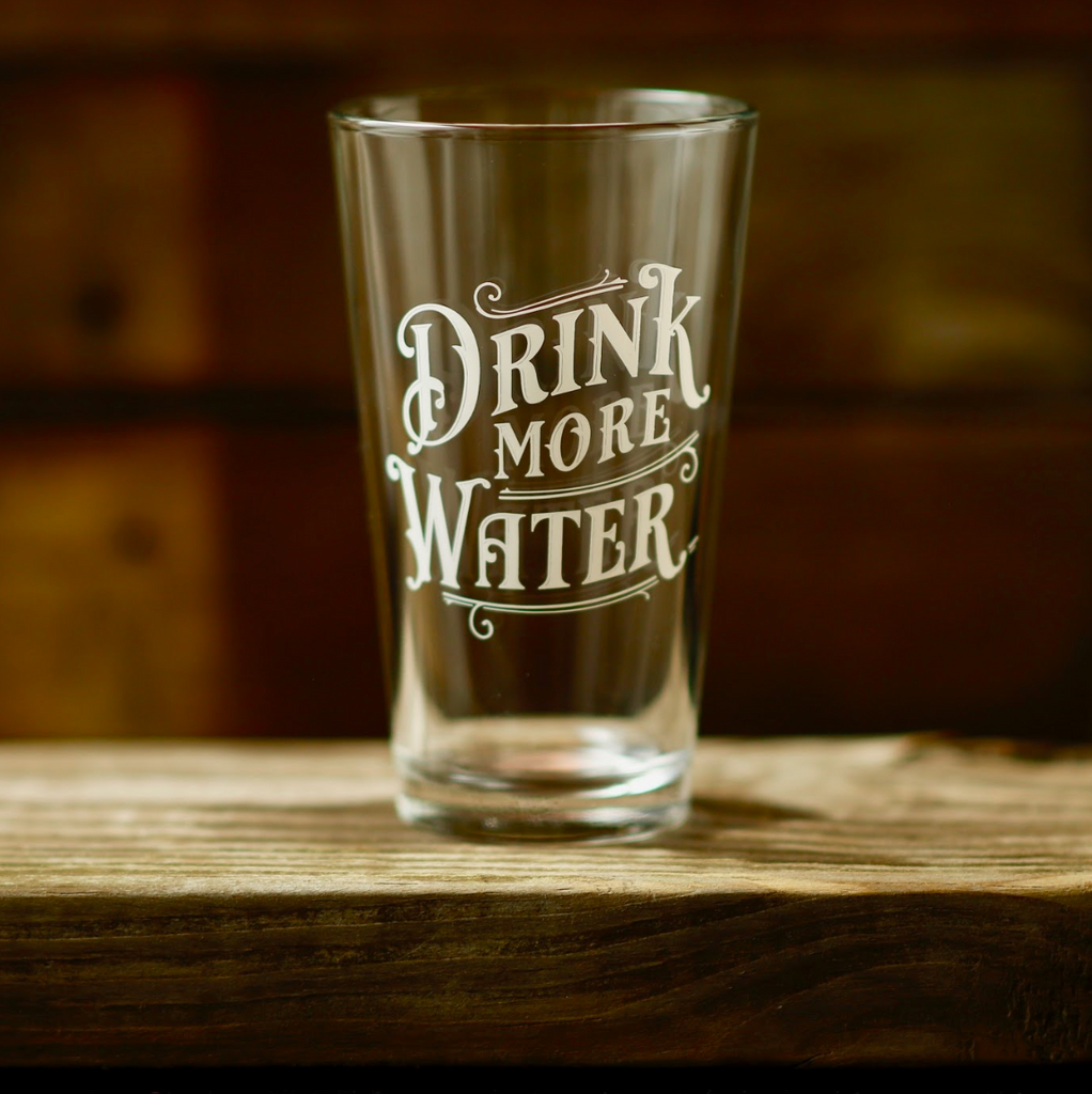 Drink More Water Pint Glass - Set of 4