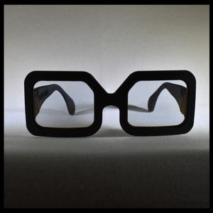 black rectangular sunglass front view on a white table made in USA