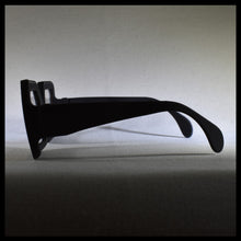 Load image into Gallery viewer, black rectangular sunglass fashion frames sitting on a white table
