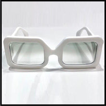 Load image into Gallery viewer, Snow white large men's rectangular sunglass fashion frames, by Nouvelle Chicane, Boxframe edition front view