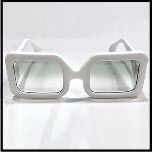 Snow white large men's rectangular sunglass fashion frames, by Nouvelle Chicane, Boxframe edition front view