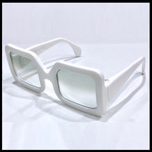Load image into Gallery viewer, Snow white large rectangular sunglasses on a white background with aqua lenses