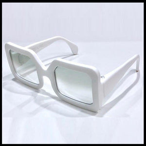Snow white large rectangular sunglasses on a white background with aqua lenses