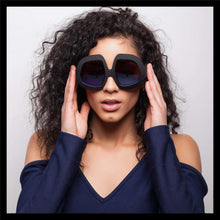 Load image into Gallery viewer, black oversized women's retro sunglasses