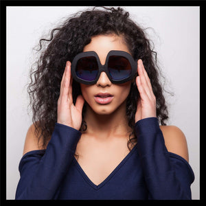 black oversized women's retro sunglasses