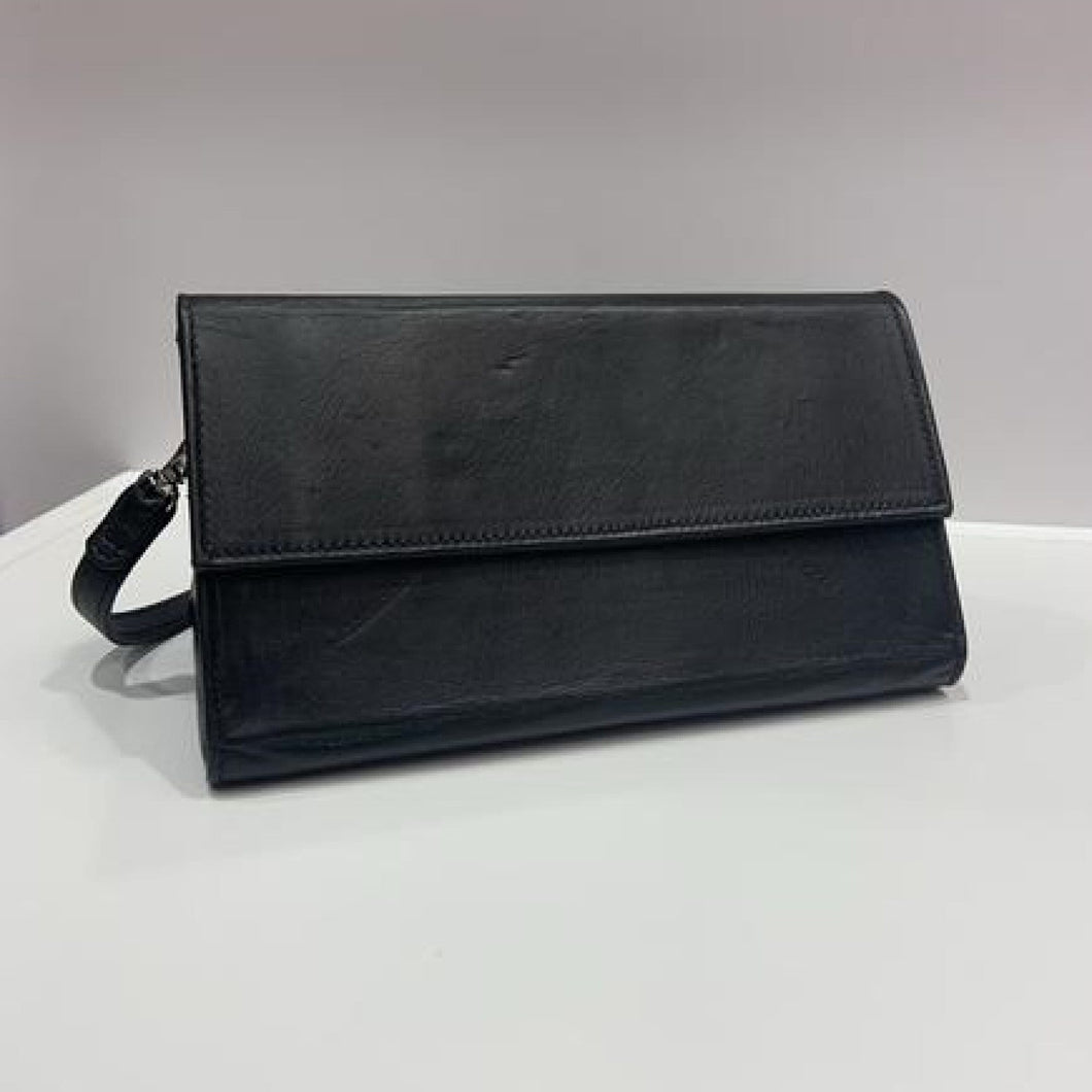 handmade leather folding clutch