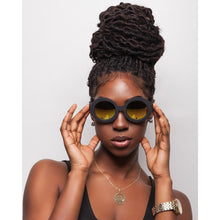 Load image into Gallery viewer, gold sunglasses on black female model