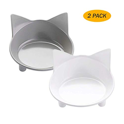 Cat Food Bowls Non Slip Cat Double Dish Pet Food & Water Bowls Feeder Bowls - Mia's Pet Supply