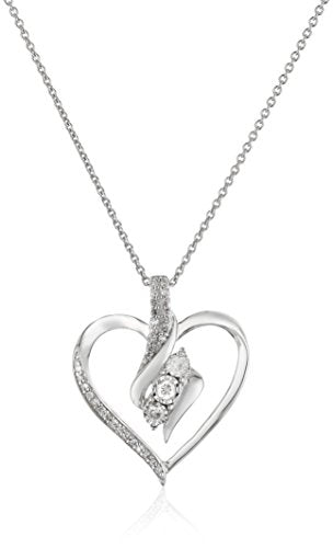 ": Sterling Silver Diamond 3 Stone Heart Pendant Necklace (1/4 cttw), 18"": Clothing - Mia's Pet Supply"