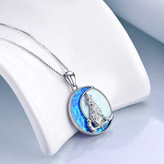 POPKIMI Sterling Silver Wolf Jewelry Opal Moon Howling Wolf Pendant Necklace - Mia's Pet Supply