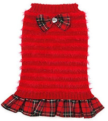 Turtleneck Dogs Sweaters Dress with Bowtie Knitwear Pullover - Mia's Pet Supply