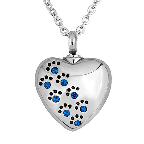 :  Necklace For Ashes Pet Paw Prints Heart Memorial - Mia's Pet Supply