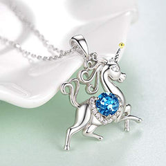 Unicorn Necklace Jewelry Gifts for Girls Sterling Silver Blue Aquamarine Animal Necklace - Mia's Pet Supply