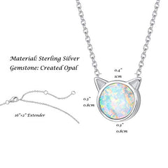 FANCIME Sterling Silver Cat Necklace Blue / White Created Opal Cat Ear Pendant - Mia's Pet Supply