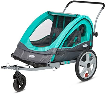 Instep Quick-N-EZ Double Tow Behind Bike Trailer, Converts to Stroller/Jogger, Orange - Mia's Pet Supply