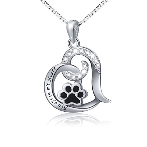 :  Cute Puppy Paw Print Love Heart Pendant Necklace - Mia's Pet Supply