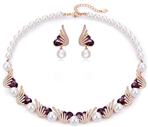 CDE Pearl Necklace and Earrings Set for Women - Mia's Pet Supply