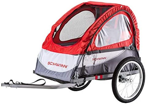 Schwinn Trailblazer Child Bike Trailer, Canopy, 16-inch Wheels, Red