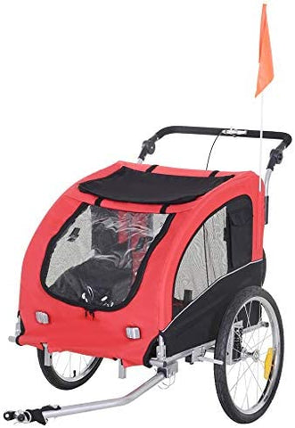 Aosom Elite II 2-in-1 Pet Dog Bike Trailer and Stroller with Suspension