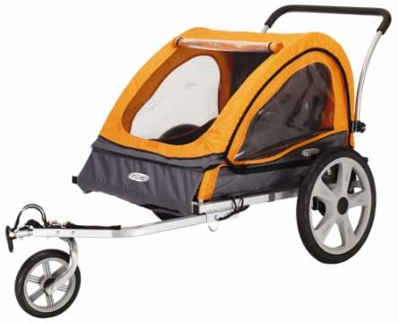 Instep Quick-N-EZ Double Tow Behind Bike Trailer, Converts to Stroller/Jogger, Orange