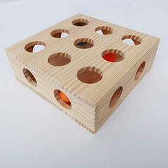 Interactive Cat Toy Puzzle Box Wooden Treat Maze Scratcher Peek Play Toy Box Fun Interactive Cat Toy Fun Hide and Seek Cat Agility Toys - Mia's Pet Supply