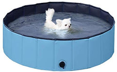 : Yaheetech Blue Foldable Hard Plastic Kiddie Baby Dog Pet Bath Swimming Pool - Mia's Pet Supply